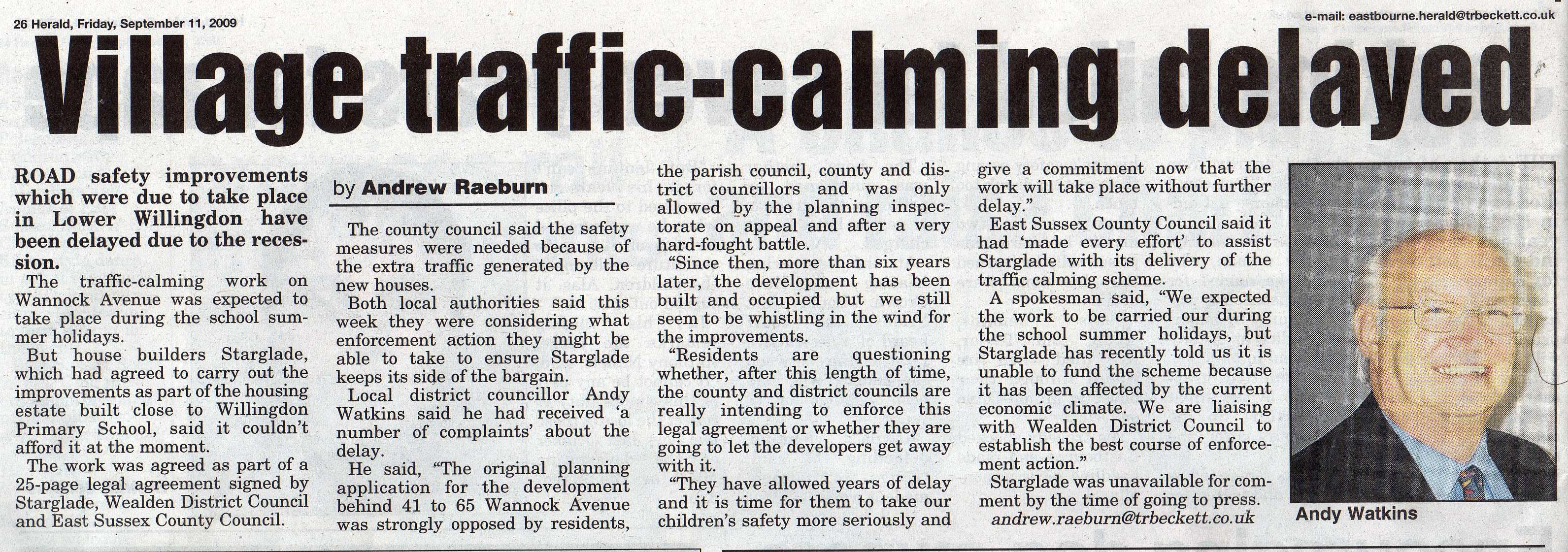 What happened  about the Traffic calming